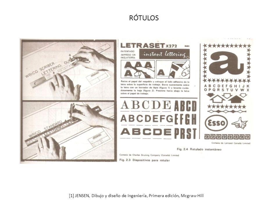 RÓTULOS [1] JENSEN, Dibujo y diseño de Ingeniería, Primera edición, Mcgraw Hill